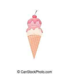 Helado rosa en un cono de gofre. Ilustración de vectores sobre fondo blanco.