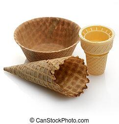 helado, tazas, oblea