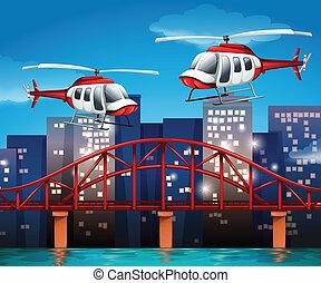 Helicópteros cerca del puente