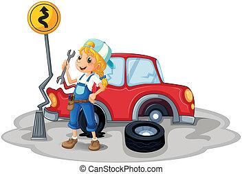 hembra, accidente de coche, mecánico
