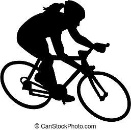 hembra, bicicleta, bicicleta, ciclista