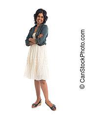 hembra, casual, indio, falda