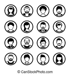 hembra, iconos, vector, avatar, círculo, macho