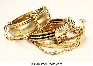hembra, joyería del oro, pulseras