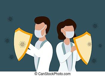 hembra, macho, coronavirus, doctors, agains, sield