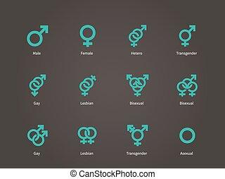 hembra, macho, sexual, orientación, icons.