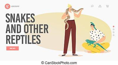 hembra, mascotas, serpiente, tropical, cuidado, animales, caracteres, concept.landing, lagarto, exótico, página, macho, template., gente