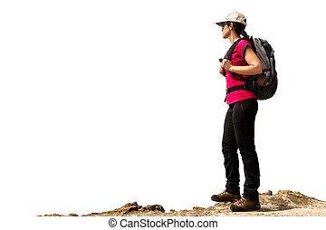hembra, mochila, excursionista, isolated.