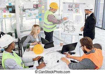 hembra, planos, oficina, analizar, colegas, macho
