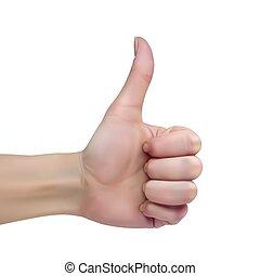 hembra, pulgar, blanco, arriba, mano, plano de fondo, exposiciones, señal