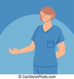 hembra, retrato, atención sanitaria, enfermera, trabajador