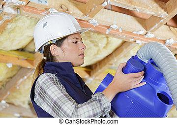 hembra, sistema, trabajador, instalación, condicionamiento, aire