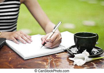 hembra, writing., mano