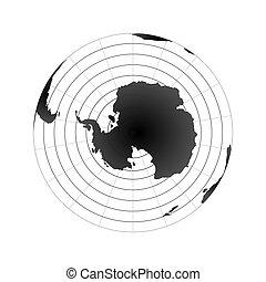 Hemisferio del polo antártico. Vista del mapa del mundo desde el espacio aislada en blanco
