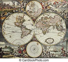 hemisferios, mundo, viejo, mapa