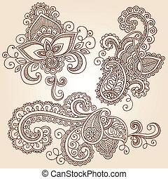 Henna cuaderno de garabatos del vector