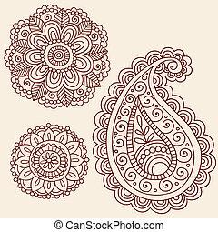 Henna doodle vector diseña elementos