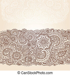 Henna paisley flores diseño fronterizo