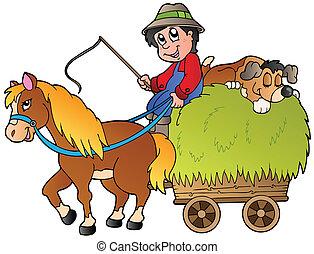 heno, caricatura, carrito, granjero