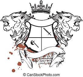 heráldico, cresta, cabeza, león, tattoo7