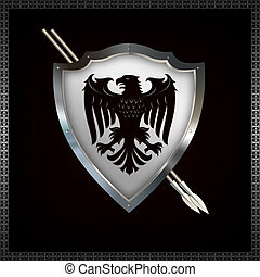 heráldico, protector, spears.