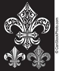 Heraldry fleur de lis set
