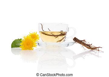 herbario, remedy., plano de fondo, té, diente de león