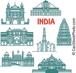 herencia, india, iconos, arquitectónico, lineal