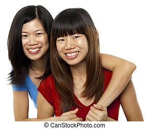 hermanas, asiático