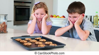 Hermanos esperando que las galletas calientes