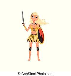 Hermosa chica amazona rubia, antigua guerrera con escudo y vector de espada ilustración en un fondo blanco