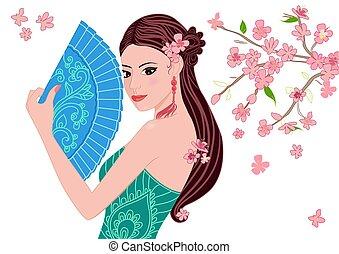 Hermosa chica china con un abanico para tu diseño