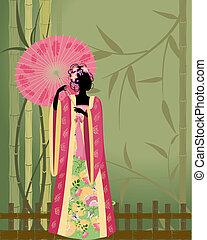 Hermosa chica con un kimono