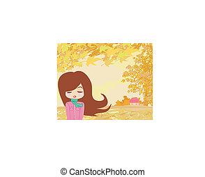 Hermosa chica en otoño