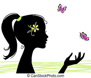Hermosa chica silueta con mariposa
