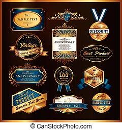Hermosa colección de etiquetas doradas de calidad premium