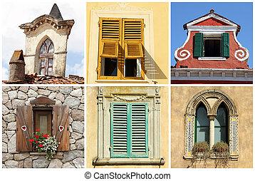 Hermosa diversidad de viejas ventanas en Italia