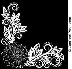 Hermosa flor de monocromo negro y blanco en la esquina. Con espacio para tu texto