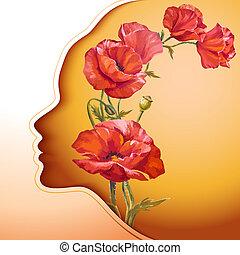 Hermosa joven con flores