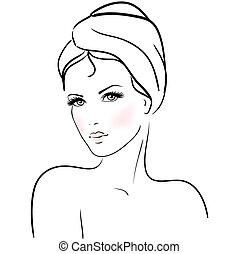 Hermosa joven con toalla