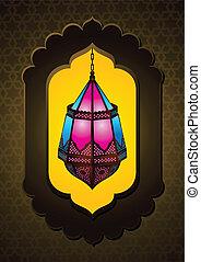 Hermosa lámpara islámica en arco
