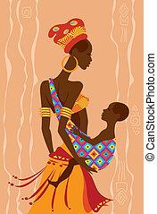 Hermosa madre africana y su bebé en un cabestrillo