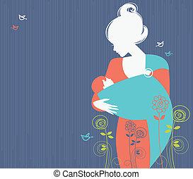 Hermosa madre silueta con bebé en un fondo floral