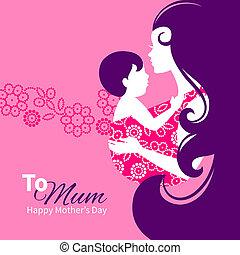 Hermosa madre silueta con el bebé en un cabestrillo. Ilustración floral