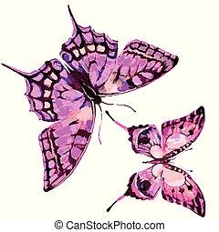 Hermosa mariposa rosa, acuarela, aislada en un fondo blanco