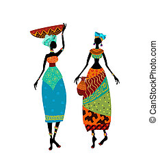 Hermosa mujer africana con traje tradicional