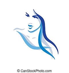 Hermosa mujer con el pelo largo