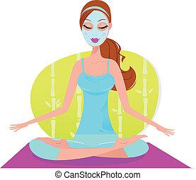 Hermosa mujer con máscara facial sentada en el tapete de yoga y meditada