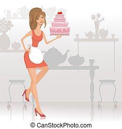 Hermosa mujer con un pastel en el restaurante