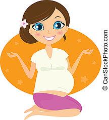 Hermosa mujer embarazada en yoga posa aislada en blanco